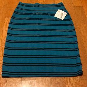 Lularoe Cassie skirt blue black stripes Large NWT